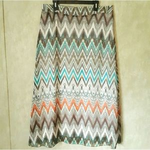 Cato orange turquoise print maxi skirt size 14